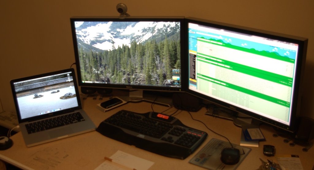 Here you can see my dual monitors with my laptop to the left of them